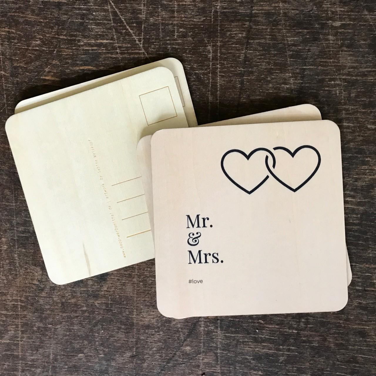 """Holzpostkarte Hochzeit """"Mr. & Mrs"""""""