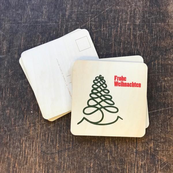 """Holzpostkarte """"Weihnachtsbaum grüne Spirale"""""""