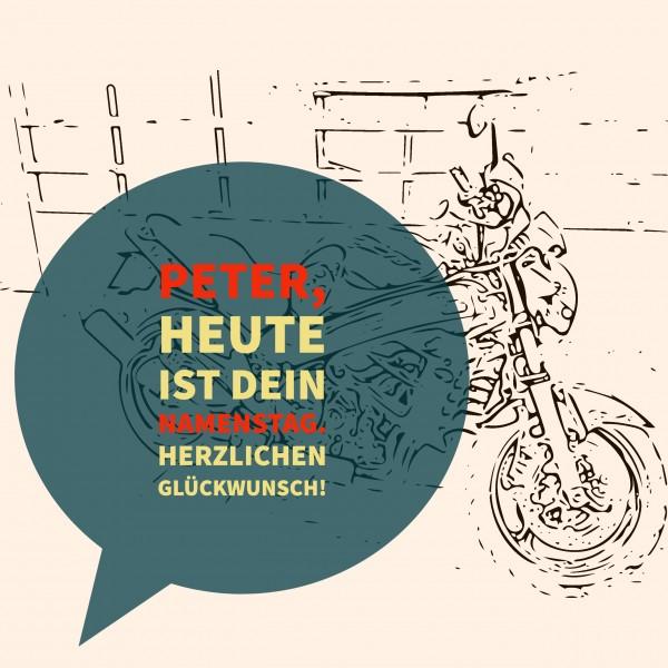 "Holzpostkarte Namenstag ""Motorrad"""
