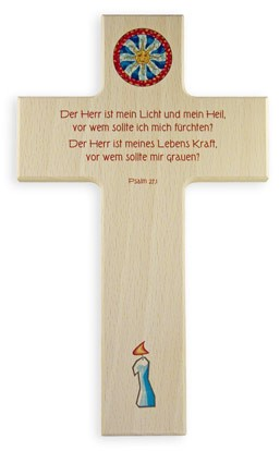 """Holzkreuz """"Der Herr ist mein Licht"""""""