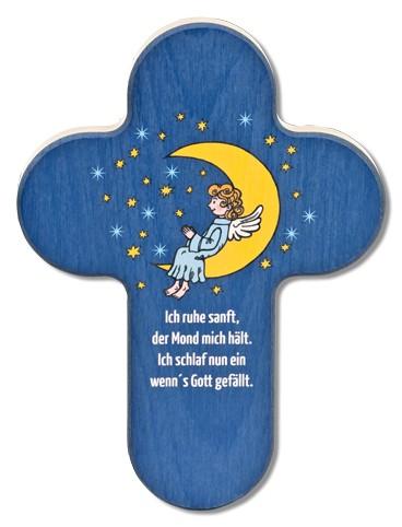 """Holzkreuz Mond und Engel """"Ich ruhe sanft"""""""