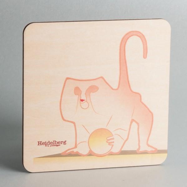 """Holzpostkarte Heidelberg """"Brückenaffe"""""""