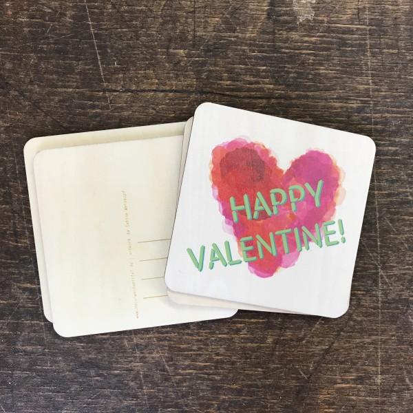 "Holzpostkarte ""Happy Valentine"" Aquarell"