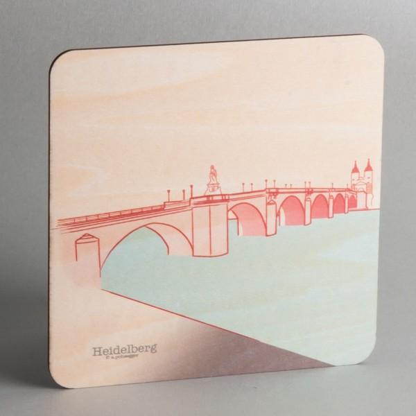 """Holzpostkarte Heidelberg """"Alte Brücke"""""""
