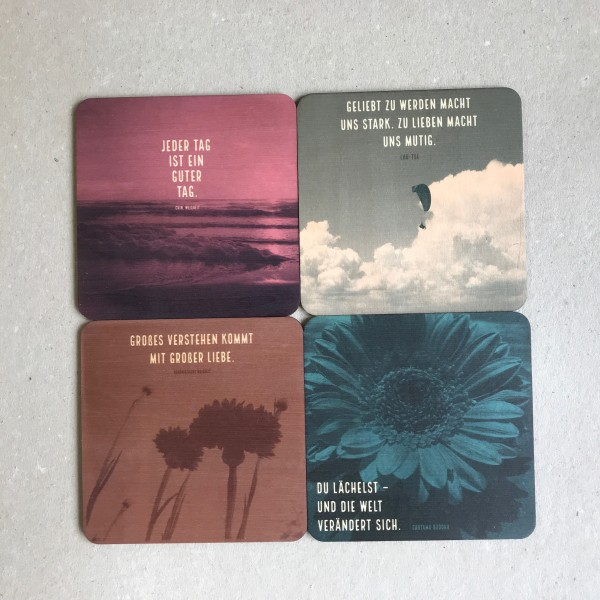"""4er-Set Holzpostkarte """"Fernöstliche Weisheiten"""""""