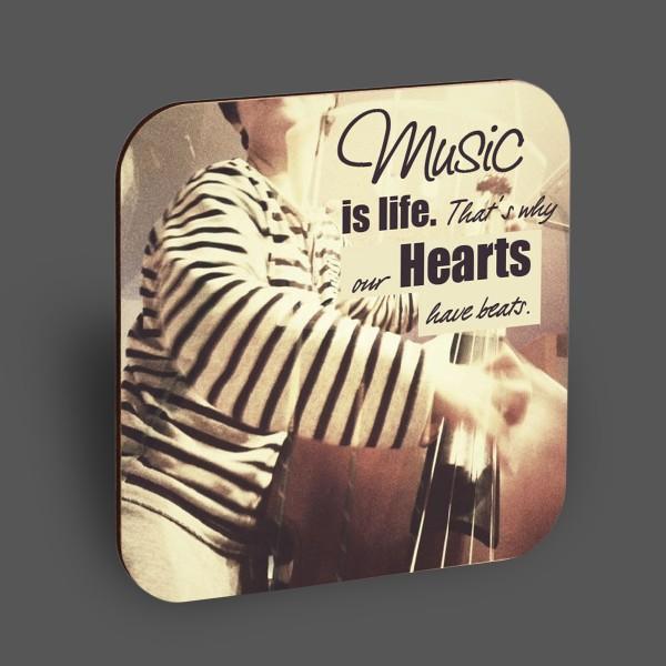 "Holzpostkarte ""Music is life..."""