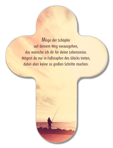 """Holzkreuz 17 x 12,5 cm """"Möge der Schöpfer auf deinem Weg vorausgehen"""""""
