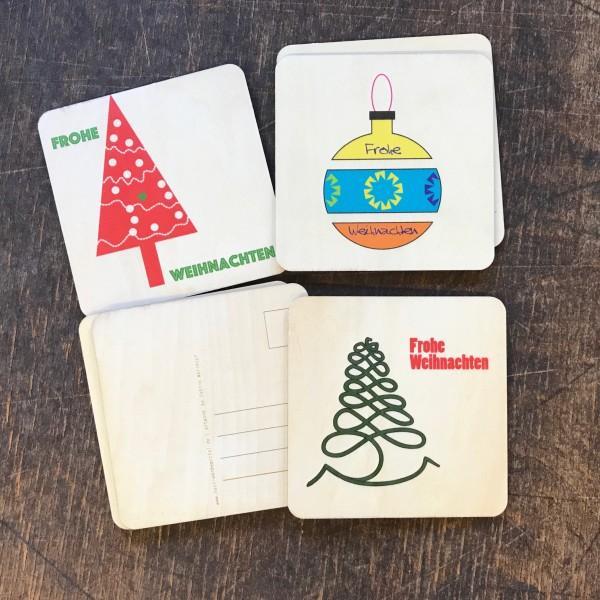 """3er-Set Holzpostkarte """"Weihnachten"""""""