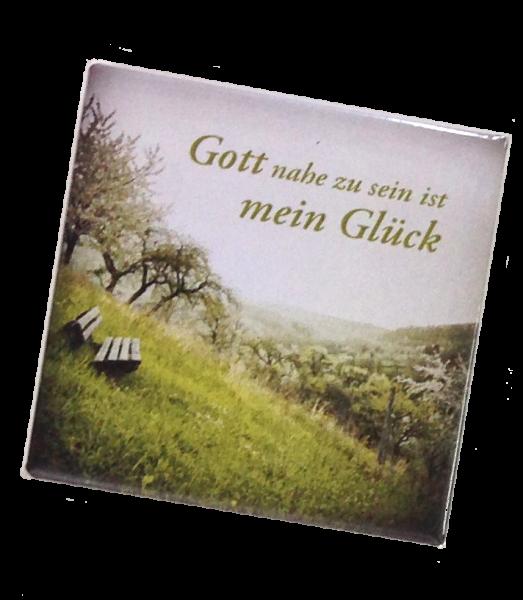 """Kühlschrankmagnet Bank in der Natur """"Gott nahe zu sein..."""""""
