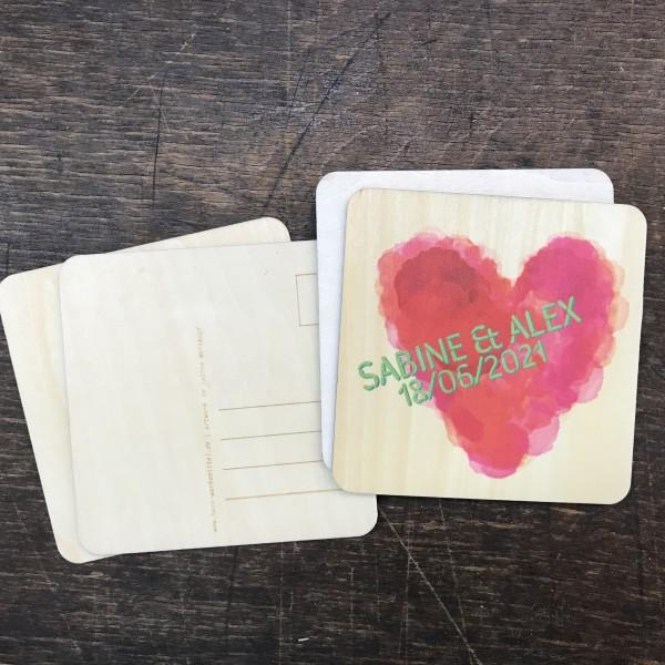 Holzpostkarte Einladung Hochzeit