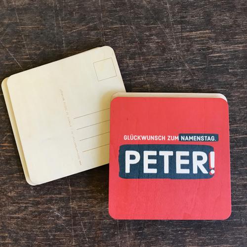 "Holzpostkarte Namenstag ""Peter"" / oder jeder andere Name"