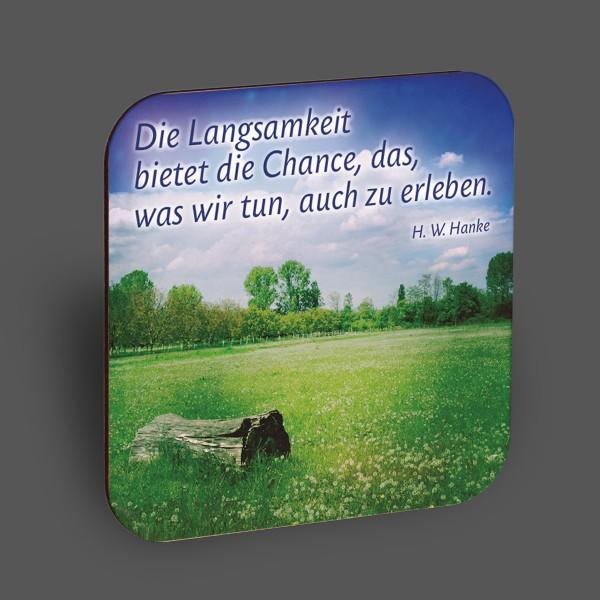 """Holzpostkarte """"Die Langsamkeit bietet die Chance..."""""""