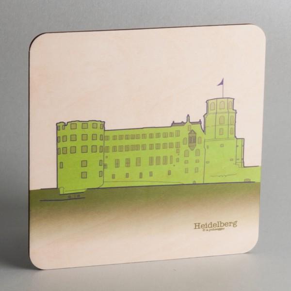 """Holzpostkarte Heidelberg """"Schloss"""""""