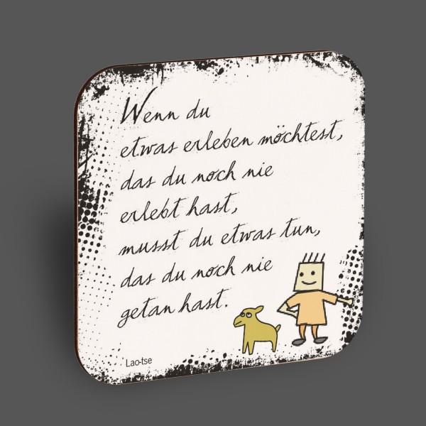 """Holzpostkarte """"Wenn du etwas erleben möchtest..."""""""
