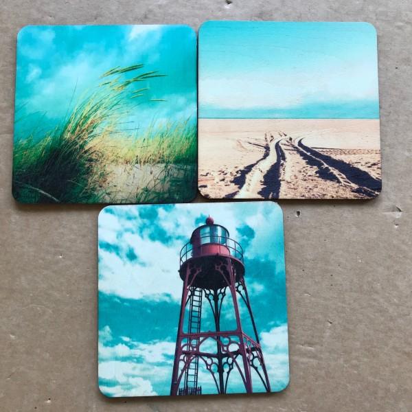 """3er-Set Holzpostkarten """"Leuchtturm, Strand & Dünen"""""""