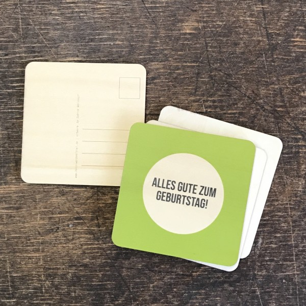 """Holzpostkarte """"Geburtstag"""" grün"""