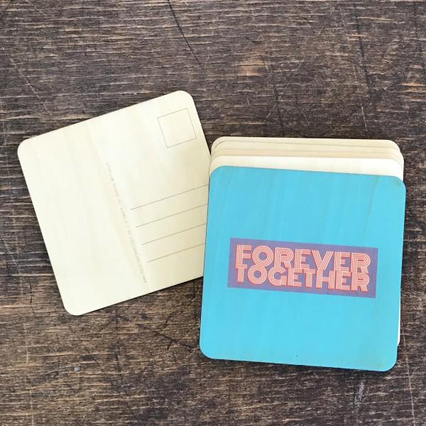 """Holzpostkarte Hochzeit """"forever together"""" no. 1"""