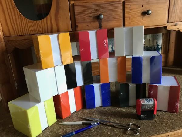 Zettelbox farbig sortiert