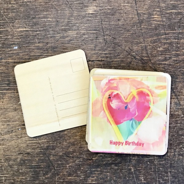 "Holzpostkarte ""Happy Birthday"" Herzmotiv"