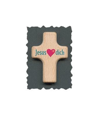 """Handschmeichler """"Jesus liebt dich"""" türkis/pink"""