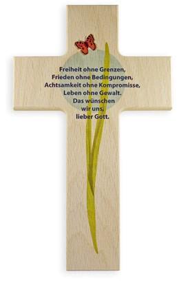 """Holzkreuz """"Frieden und Freiheit"""""""