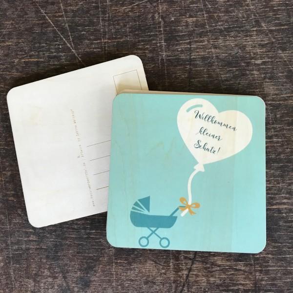 """Holzpostkarte """"Willkommen kleiner Schatz"""" blau"""