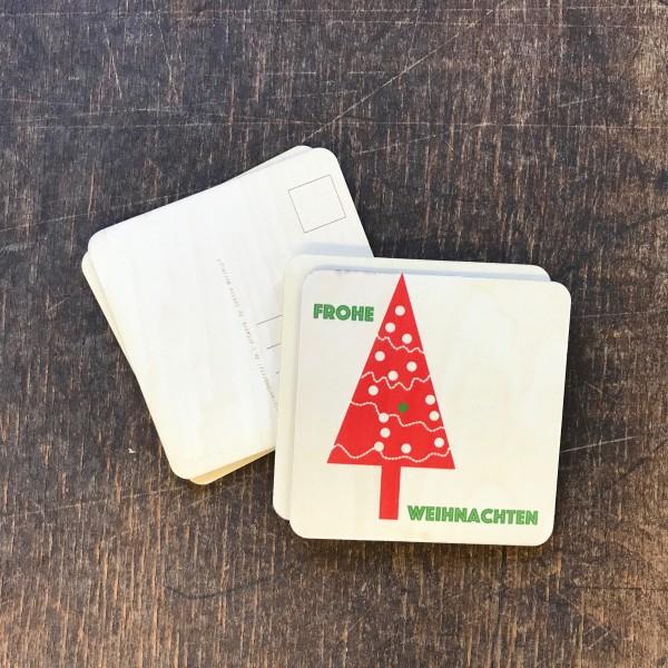 """Holzpostkarte """"Weihnachtsbaum rot"""""""