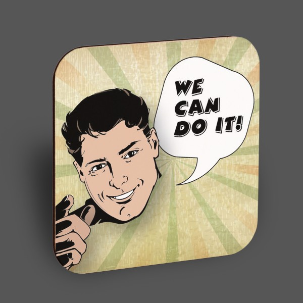 """Holzpostkarte """"We can do it"""""""