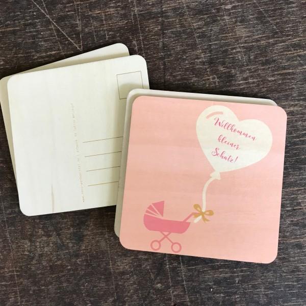 """Holzpostkarte """"Willkommen kleiner Schatz"""" rosa"""