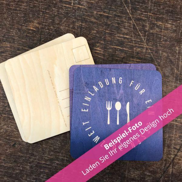 Einladungskarten Holz - individuell gestalten